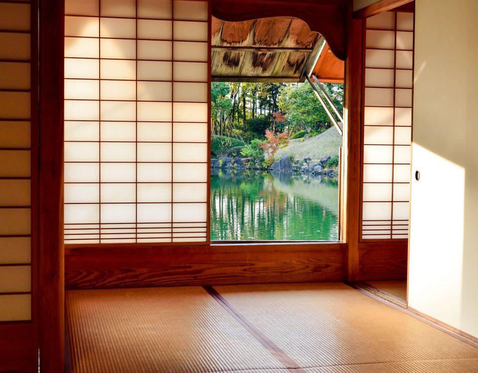 brown wooden door near body of water