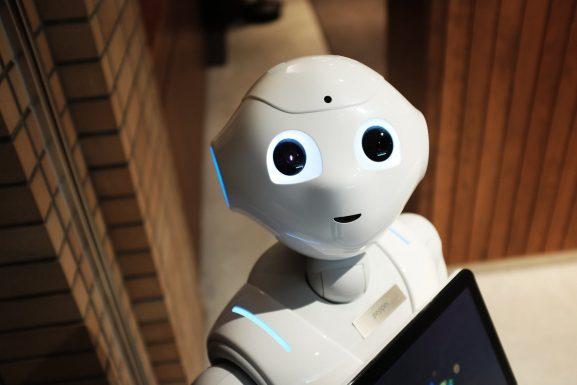high angle photo of robot